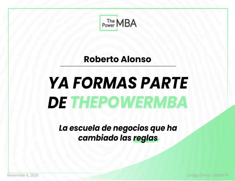 Nuestro CEO y responsable del Área Civil del Despacho, Roberto Alonso Simón, comienza el Master de Dirección y Administración de Empresas con ThePowerMBA